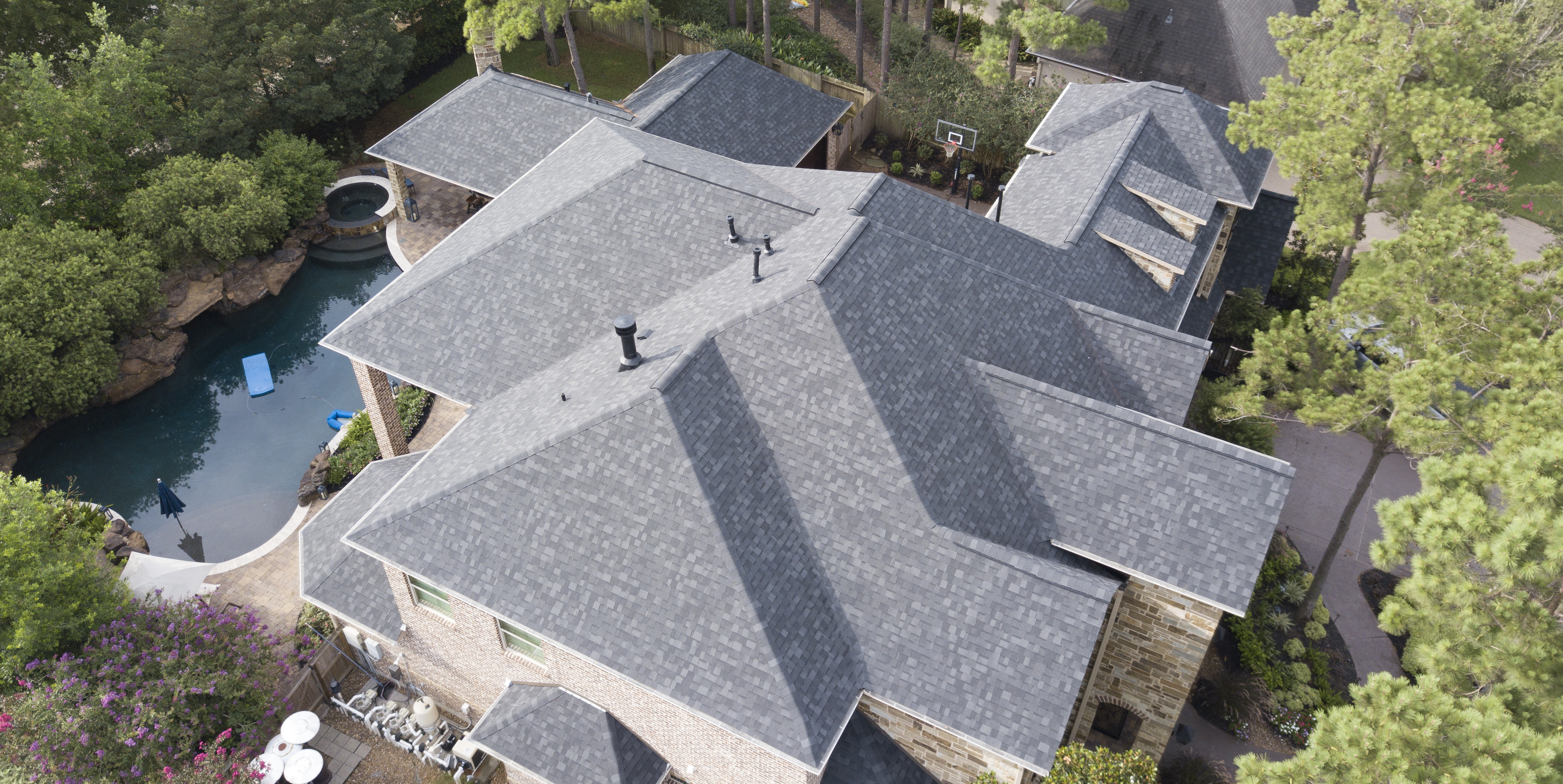 aerial view of a roof